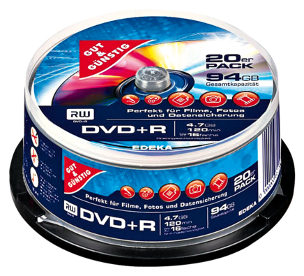 DVD+R, 4,7 GB 120 Min. 20er-Pack, Cakebox
