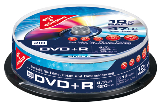 DVD+R 4,7 GB 120 Min. 10er-Pack, Cakebox