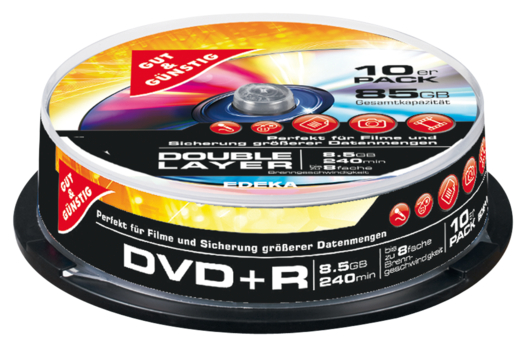 DVD+R 8,5 GB Double Layer 240 Min. 10er-Pack, Cakebox