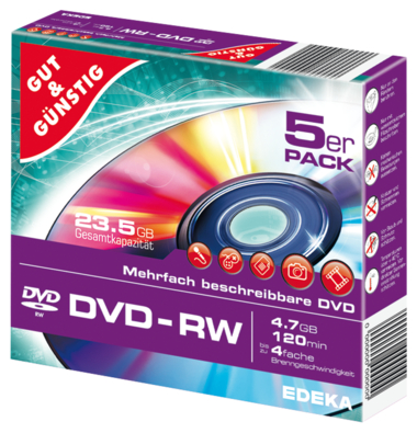 DVD-RW 4,7 GB 120 Min. 5er-Pack, Slimcase