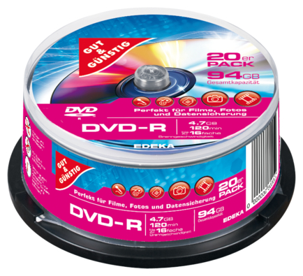 DVD-R 4,7 GB 120 Min. 20er-Pack, Cakebox