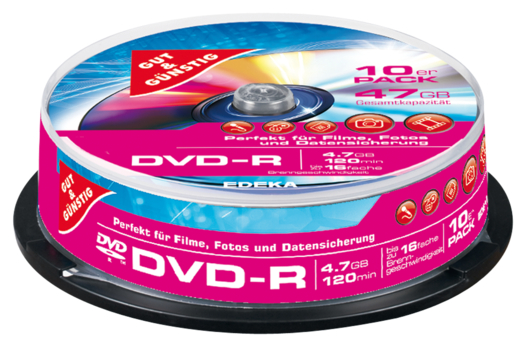 DVD-R 4,7 GB 120 Min. 10er-Pack, Cakebox
