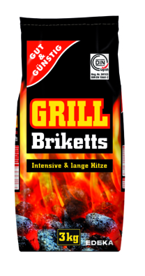 Grill Holzkohle Briketts, 3 kg