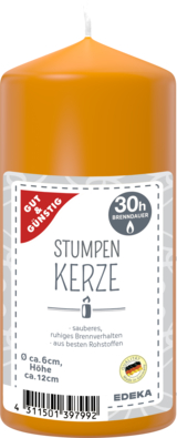Stumpenkerze 120/60 mm, orange