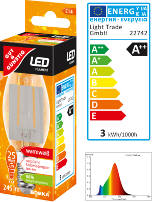 LED Filament Kerze E14, 245 Lumen, 2,5 Watt