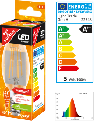 LED Filament Kerze E14, 470 Lumen, 4,5 Watt