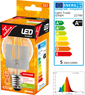 LED Filament Birne E27, 470 Lumen, 4,5 Watt
