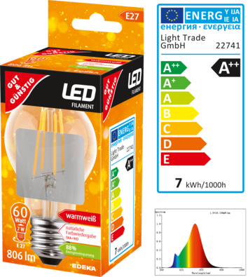 LED Filament Birne E27, 806 Lumen, 7 Watt