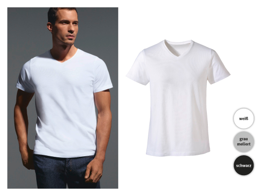 Herren Basic-T-Shirt, V-Neck